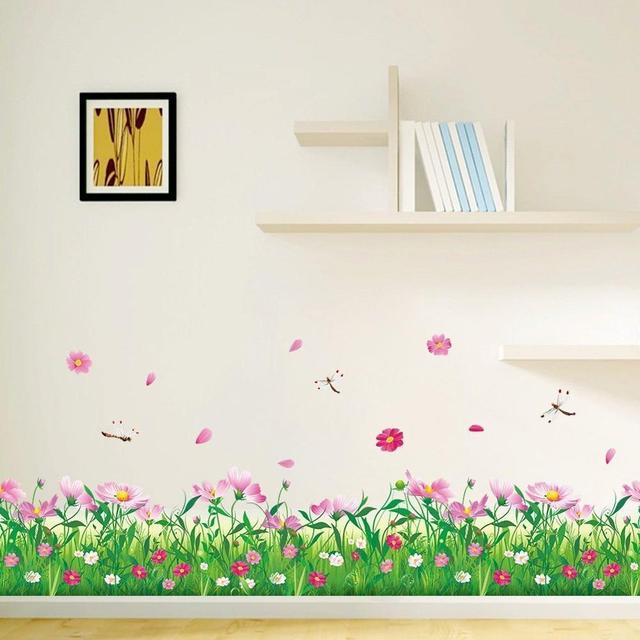 Great Beautiful Pink Flower Green Grass With Butterflies Wall Decals Murals Home  Art Decor Peel Stick Wall