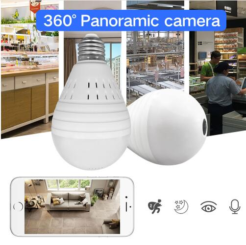 960P Bulb Light HD Wireless IP Camera 360 Degree Panoramic FishEye Security CCTV Camera Wifi P2P Motion Detection Camera Monitor escam qp136 960p bulb wifi ip security camera 360 degree panoramic h 264 infrared indoor motion detection ip camera
