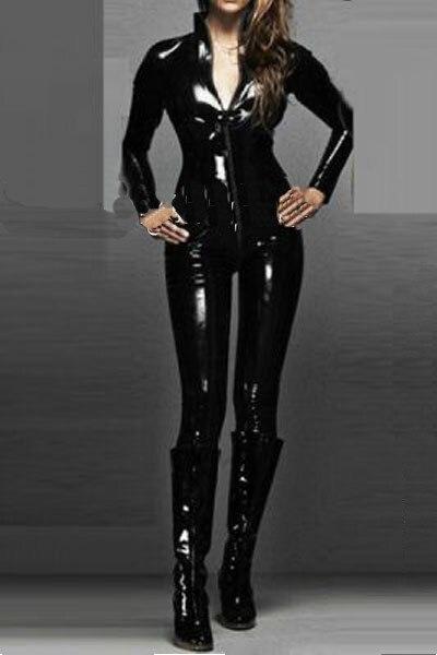 PP женщин размера плюс сексуальные черные мокрого вида ПВХ леггинсы с ноги M L XL