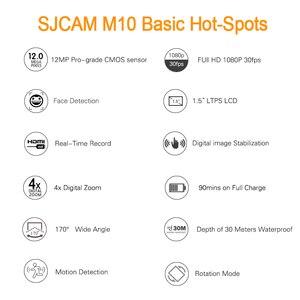 Image 5 - Sjcam m10 câmera esportiva de ação original, full hd 1080p, mergulho, 30m, à prova d água, submersa, câmera para capacete, câmera para gravar esportes câmera