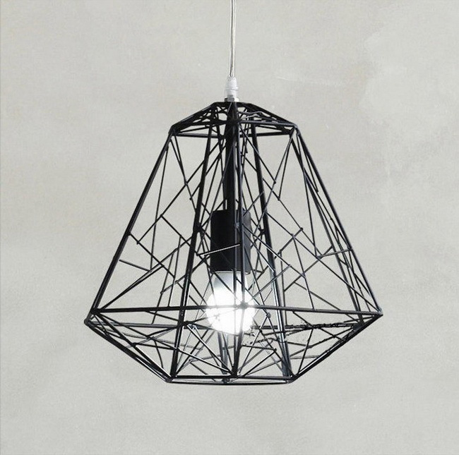 Modern industry restaurant E27 led bulb pandent lamp nordic American white/black iron cage diamond pendant light fixture карабин black diamond black diamond rocklock twistlock