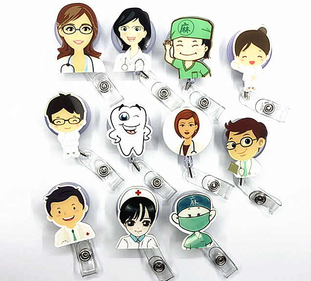 New Medical Staff Retractable Badge Reel High Quality Acrylic Student Nurse Exihibiton Id Name Card Badge Holder Office Supplies Fancy Colours Badge Holder & Accessories