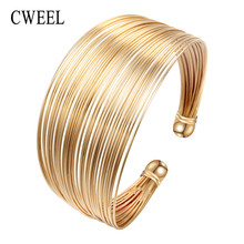 CWEEL Fashion Open Bangles For Women Christmas Gifts Vintage Round Dubai Gold Color Bangles Metal Party Cuff Bracelets Jewelry(China)