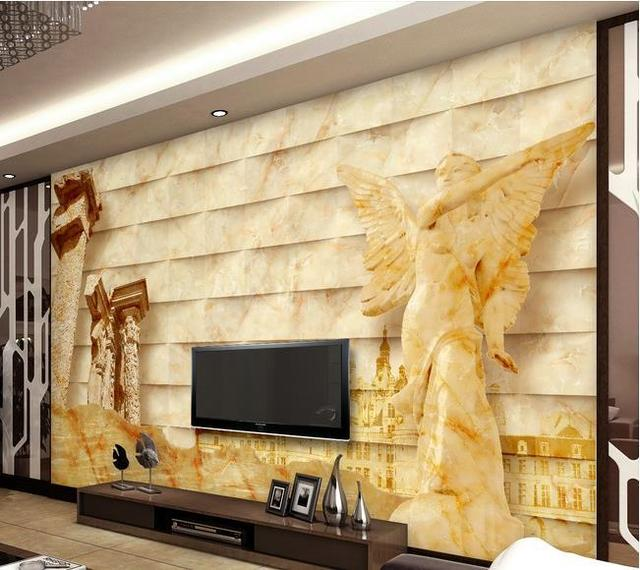 papel de parede TV backdrop of stone sculpture Entrance wall paper ...