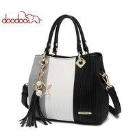 DOODOO Для женщин Pu кожа Сумка женская через плечо сумки дамы Топ ручка сумка кисточкой Волшебный цвет Курьерские сумки