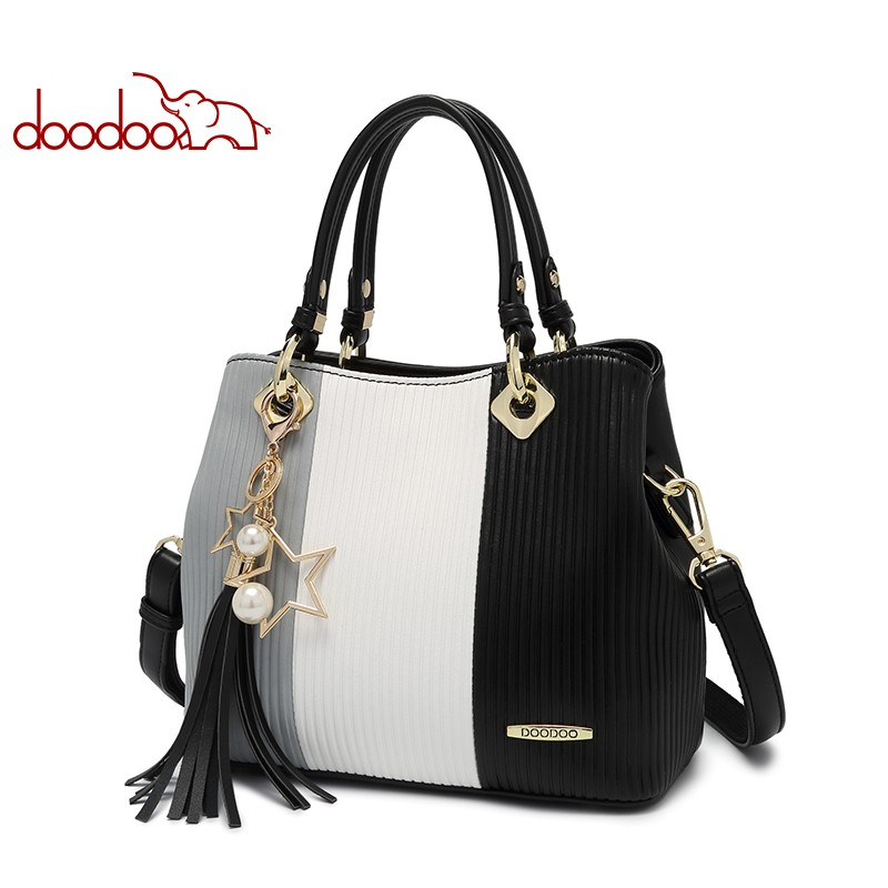 DOODOO Women Pu Leather Handbag Tote Bag Female Shoulder Crossbody Bags Ladies Top-handle Bag Tassel Spell Color Messenger Bags doodoo brand fashion women bag female shoulder crossbody bags ladies artificial leather tassel new small 5 colors messenger bags