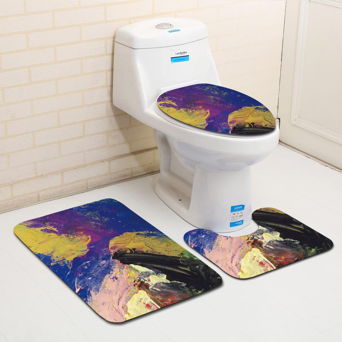 3Pcs Coloured Drawing or Pattern Toilet Decoration Bathroom Mat Soft Flannel Bath Rug Non-slip Foot Mat Beside Restroom Doormat