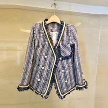 Tweed Striped Blazer Women 2019 Red Blue Autumn Winter Jacket Coat Mujer Luxury