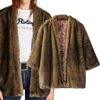 Fake Fur Kimono Vintage Reversible Harajuku 2017 Autumn New Product Two Sides Wear Fur Coat Of