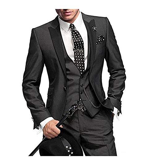 (Jacket+vest+pants)2019 Custom Slim Fit One Button Men Suits For Wedding Notch Lapel Men Suits Groomsmen Best Man Tuxedo 3 Piece