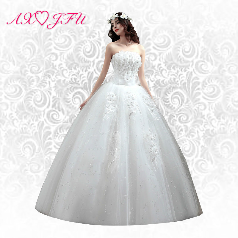 AXJFU flower strapless Wedding Dress princess Wedding Dress, lace wedding dress bow wedding dress
