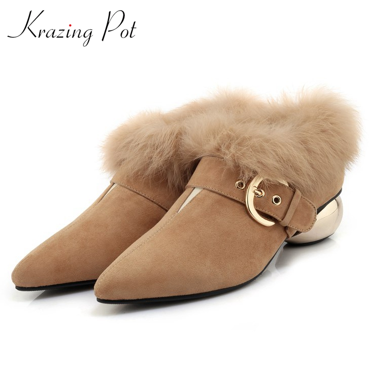 Krazing Pot rabbit fur fashion Spring sheep suede pointed toe concise style office lady metal heels women keep warm pumps L52 krazing pot shallow sheep suede metal buckle thick high heels pointed toe pumps princess style solid office lady work shoes l05