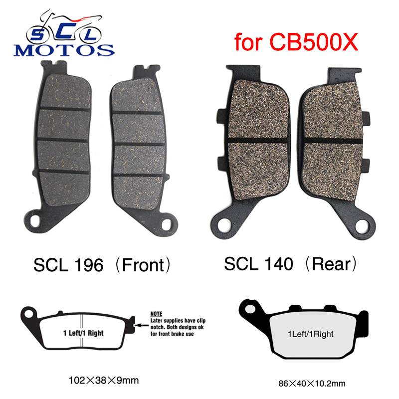 Sclmotos - 2 Pairs Brake Pads For Honda CB500X CB 500X 2014 2015 Front Disc and Rear Disc Motorcycle Brake Pads Set Brake System