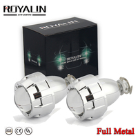 ROYALIN Car Styling 2.0 HID Bi xenon Headlight Projector Lens Metal W/ Mini Gatling Gun Shroud For Motorcycle H1 H7 H4 Retrofit