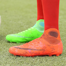 Men Soccer Shoes Kids Men Cleats Training Football Boots High Ankle Sport Sneakers Long Spike Shoes Men Sneakers Turf Futsal sufei men football boots tf high ankle superfly soccer shoes turf cheap sock cleats kids futsal sport training sneakers