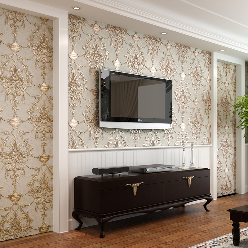 Aliexpresscom buy wallpaper 3d embossed non woven for Best living room wallpaper designs