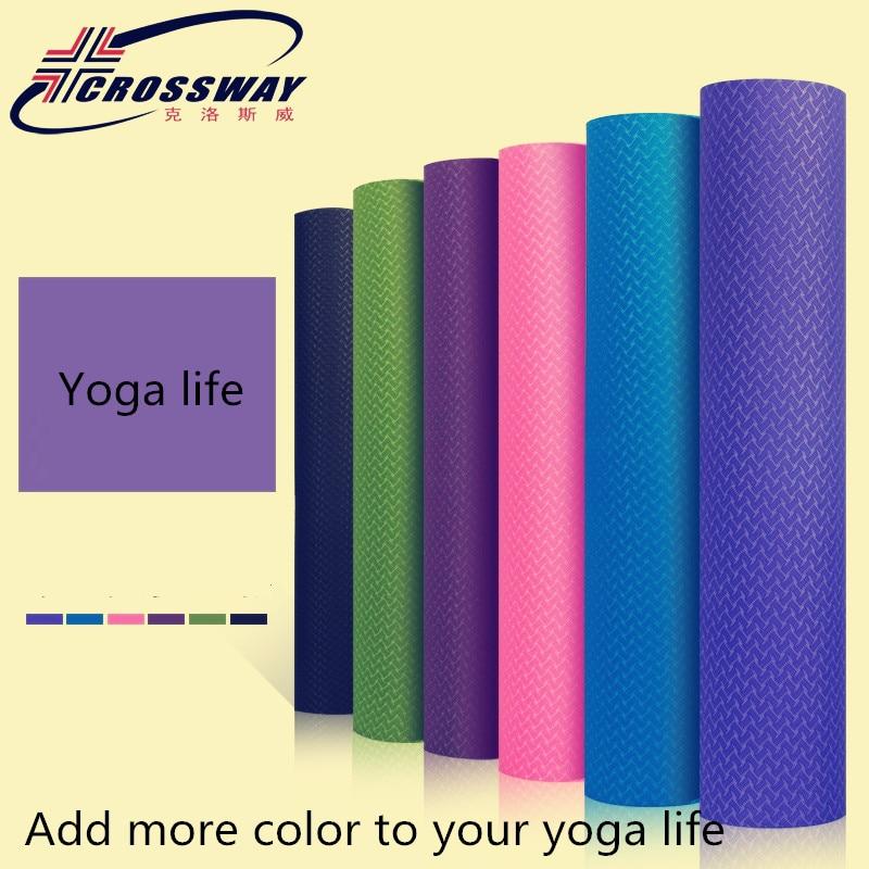 Tapis de yoga chaud tpe tapis d'exercice 8 MM épais tapis de gymnastique antidérapant fitness crossway fournitures pour l'exercice de yoga 183 cm * 80 cm * 8mm sac de yoga
