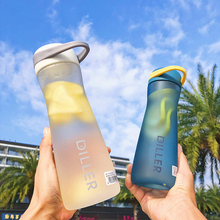 600ML Fitness Tourism Type Frosted Plastic Water Bottle Lemon Tea Flower Infuser Filter Sport large Cup BPA Free
