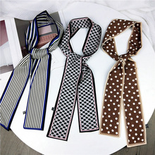 New Fashion Women Narrow Long Strip Silk Scarf Ribbon Neckerchief Print Dots For Ladies Belts Female Skinny Satin Foulard