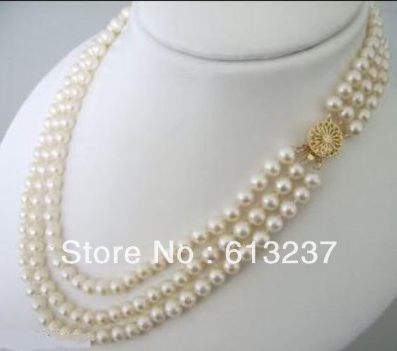 """hot free Shipping new 2015 Fashion Style diy 3 Rows 7-8mm White Akoya Cultured Pearls Necklace 17-21"""" MY4571"""