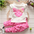 BibiCola Spring Autumn baby girls Sport suit set children t-shirt +pants clothes sets kids 2 pcs minnie mouse clothing set