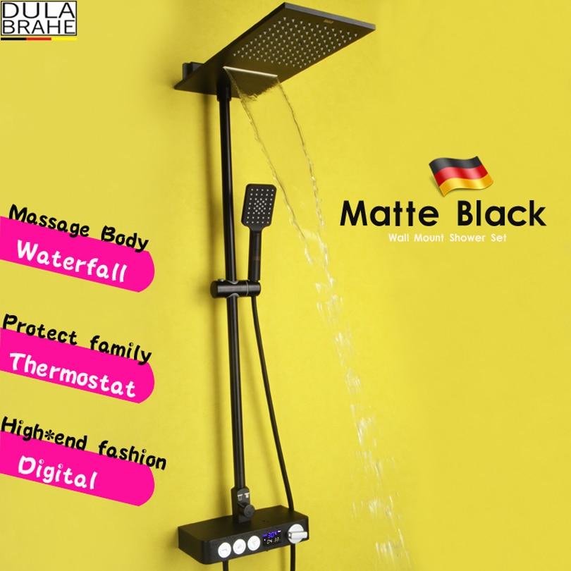 Bathroom Rain Shower Set Thermostat Bath Shower Faucet Valve Black Shower System Panel Brass Rainfall Waterfall