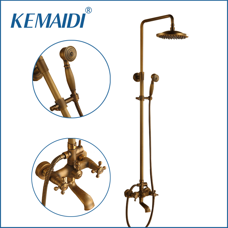 KEMAIDI Luxury NEW Arrival Antique Brass Rainfall Shower Set Faucet + Tub Mixer Tap + Handheld Shower Spray Wall Mounted квикдекор старый дом ap 00561 15565 сn7050