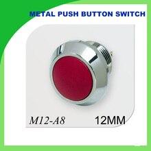 12mm metal push button switch waterfroof  1NO momentary flat PA66 button 1PCS