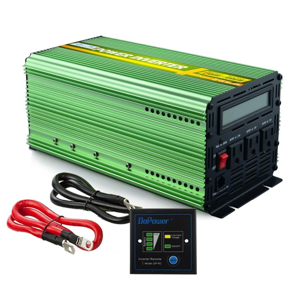 US standard 12 V 110 V 120 V onda sinusoidale pura power inverter 1500 w 3000 w di picco 60Hz convertitore con telecomando