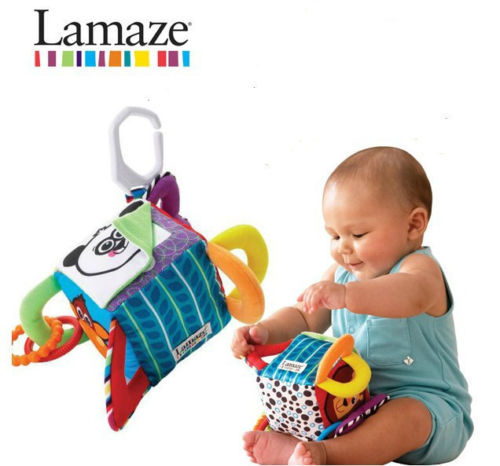 bba9f63f2aefc Candice guo plush toy colorful baby cloth cube creat peekaboo Rattle ...