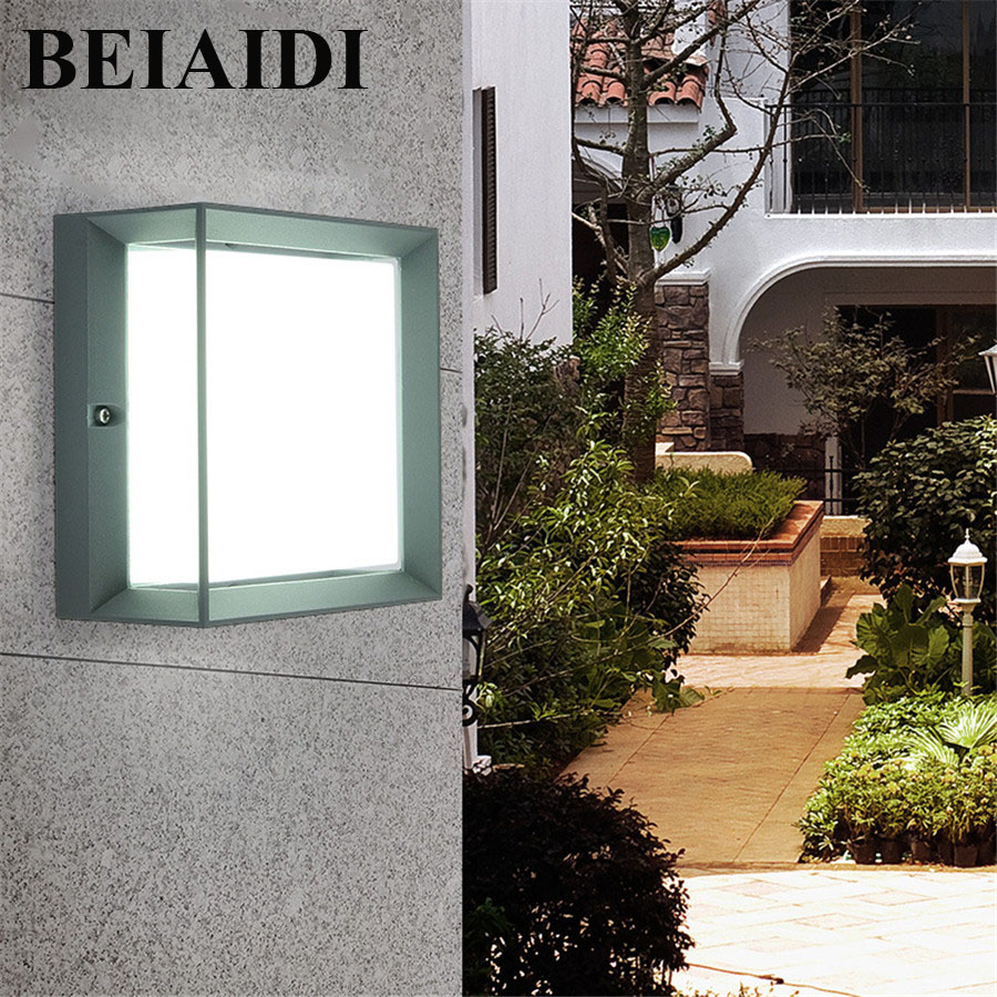 BEIAIDI 20W Waterproof Led Wall Lamps Outdoor Led Porch Lights Modern Aluminum Villa Fence Garden Balcony Gateway Wall Light beiaidi ip54 10w waterproof led wall lamp outdoor led porch lights modern villa patio fence garden balcony gateway wall lights