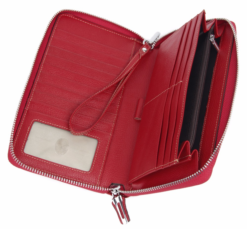 Women 39 s Genuine Leather Wallet Zipper Around RFID Blocking Travel Passport Cover Organizer Fashion Clutch Large Holder Purse in Wallets from Luggage amp Bags