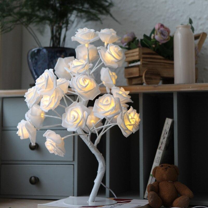 24 шт. светодиодный белый розовый цветок прикроватные Спальня Ночной светильник Настольная лампа украшение дома искусственное дерево Рождество Свадебная вечеринка - Цвет: Белый