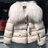 OLN 2017 Winter Women Down Coat Luxury White Natural Fur Collar High Quality Down Jackets Thicken