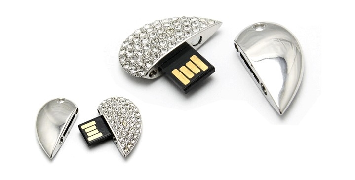 USB 2.0 Silver Heart Ultra Thin USB Memory Stick Card Key Waterproof Usb Flash Drive 32GB Pendrive 64GB Pen Drive Computer Gift