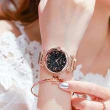 Luxury Women Watches Fashion Elegant Magnet Buckle Vibrato Purple Ladies Wristwatch New Starry Sky Roman Numeral Gift Clock 2019