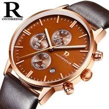 ONTHEEDGE Mens Watch Clock Business Quartz Steel Wrist Watches Waterproof Simple Luminous Pointer