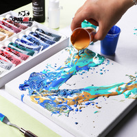 Acrylic fluid painting set Fluid painted watercolor painting tool DIY material Children's paint Halloween ceramic cloth graffiti