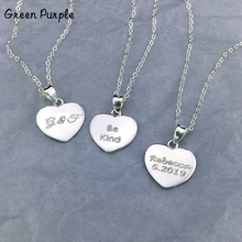 100% 925 Silver Heart Necklace Custom Handmade Letter Jewelry Name  Chocker Personalized Pendants Boho Kolye Necklace for Women women s personalized name circle pendants necklace custom letter love heart necklaces silver chain jewelery for couples lovers