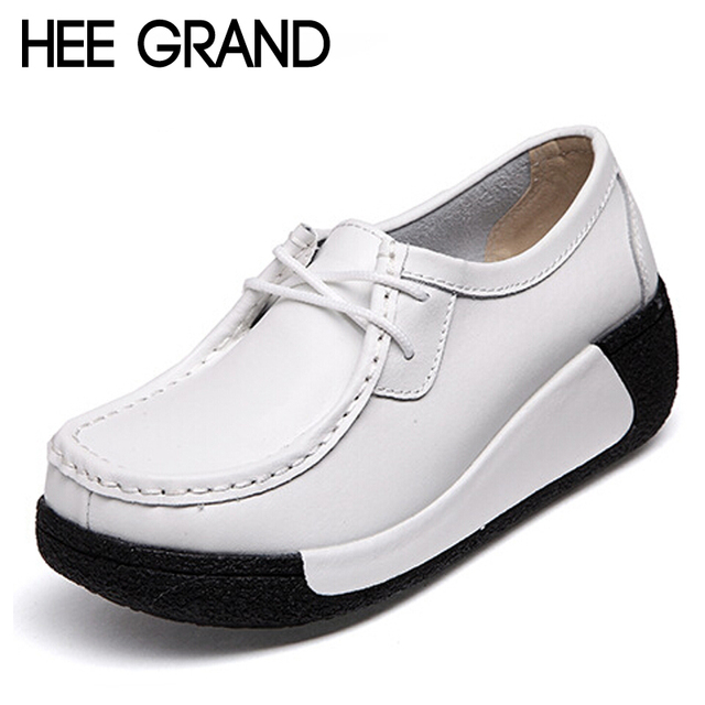HEE GRAND Brrand Platform Wedge Heel Woman Pumps Lace-up England Style Women Shoes XWD2949