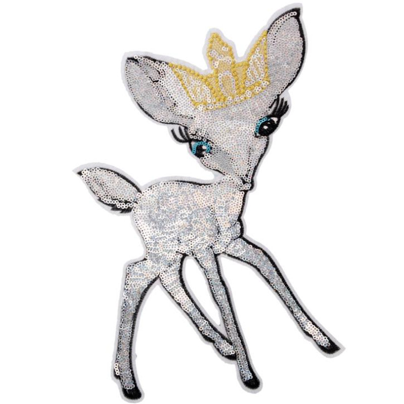 Animal <font><b>Patch</b></font> 324mm Large <font><b>Deer</b></font> Crown Logo suquins Diy women Embroidery biker <font><b>patches</b></font> for clothing applique Stickers Free Shipping image