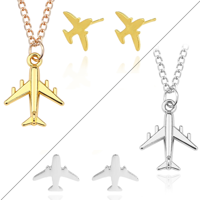 Sweet-Tempered Diy Trendy Xmas Jewelry 3pcs/set Airplane Pendants Necklaces Aircraft Stud Earrings Unisex Vintage New Year Gifts Drop Shipping