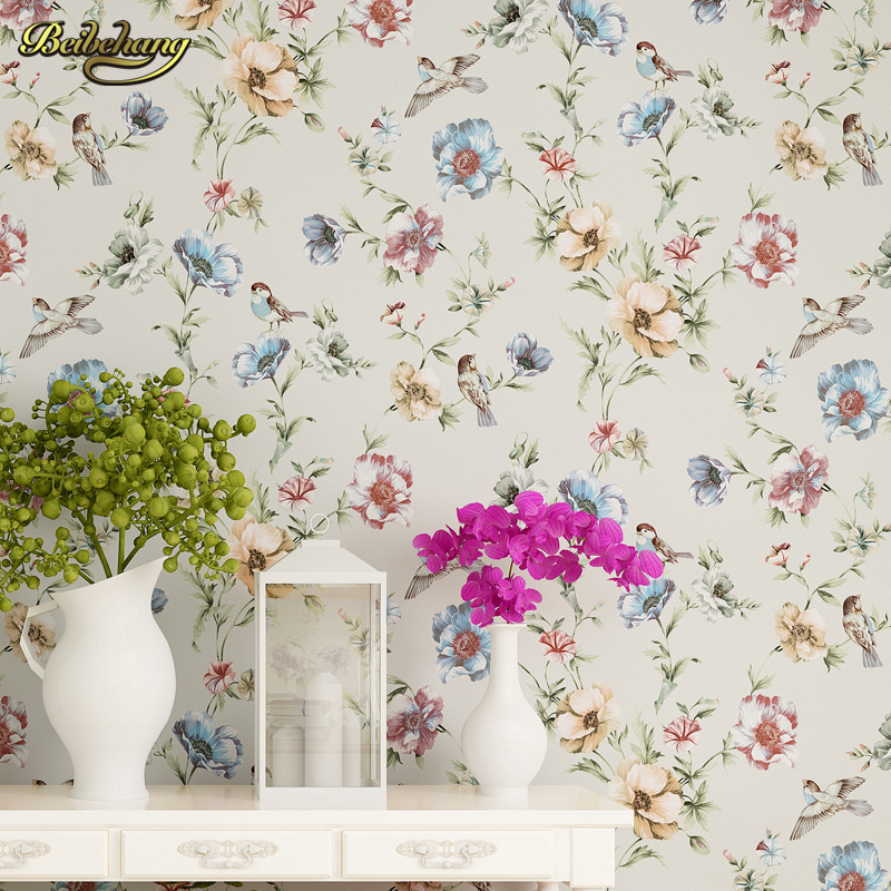 beibehang American Village Non - woven Pure Paper Sofa TV Background Wall Retro Pastoral Wallpaper Warm papel de parede non woven bubble butterfly wallpaper design modern pastoral flock 3d circle wall paper for living room background walls 10m roll