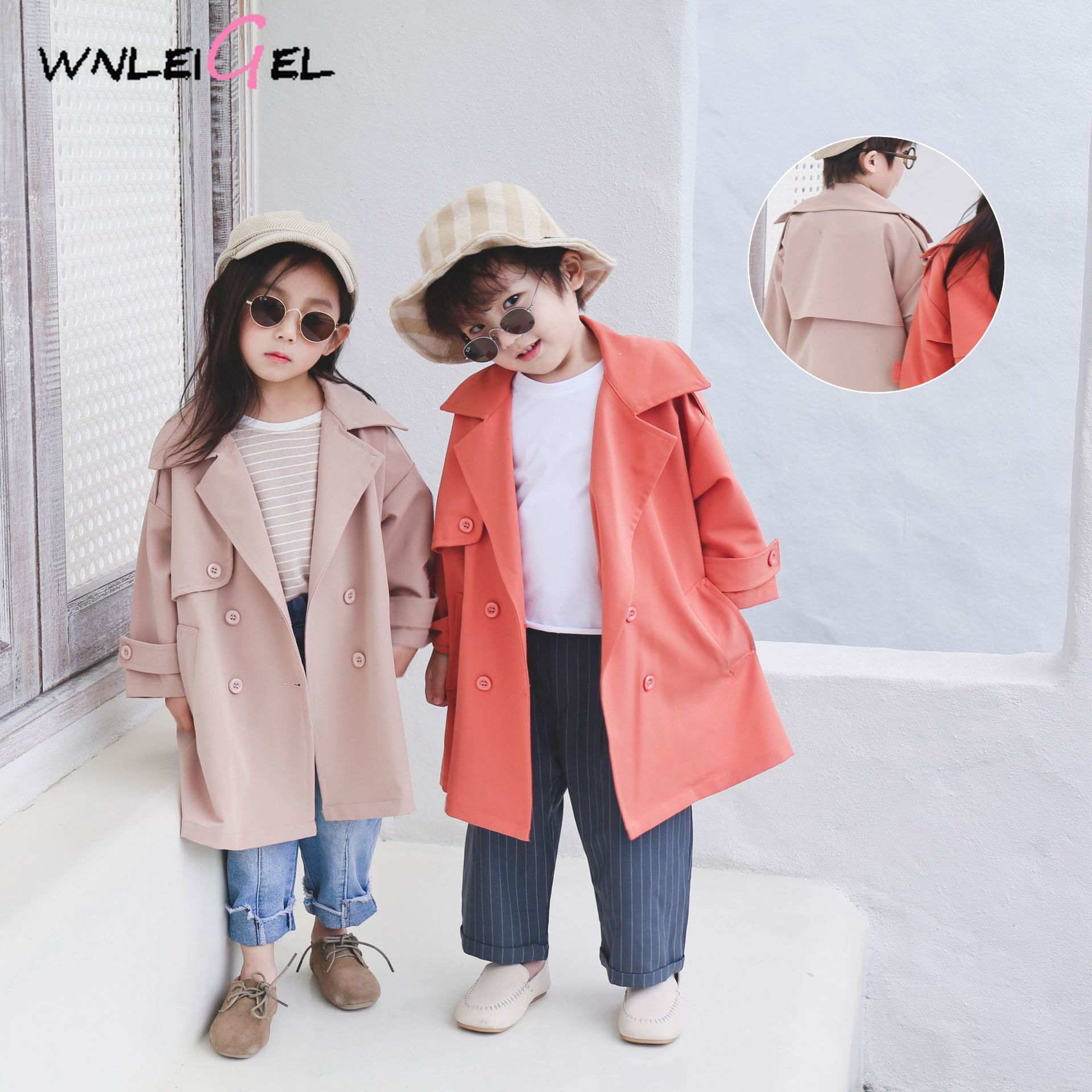 WLG 2019 spring boys girls   trench   kids double breasted long coat baby fashion beige orange clothes children 1-6 years