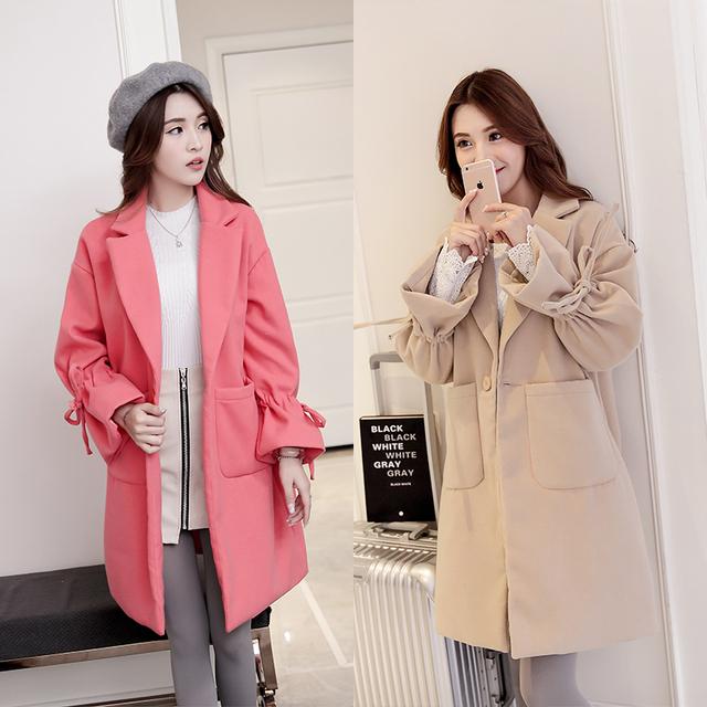 (Hacer) nuevo invierno abrigo de paño de lana abrigo de paño mujer embarazada mujeres embarazadas con tela gruesa capa