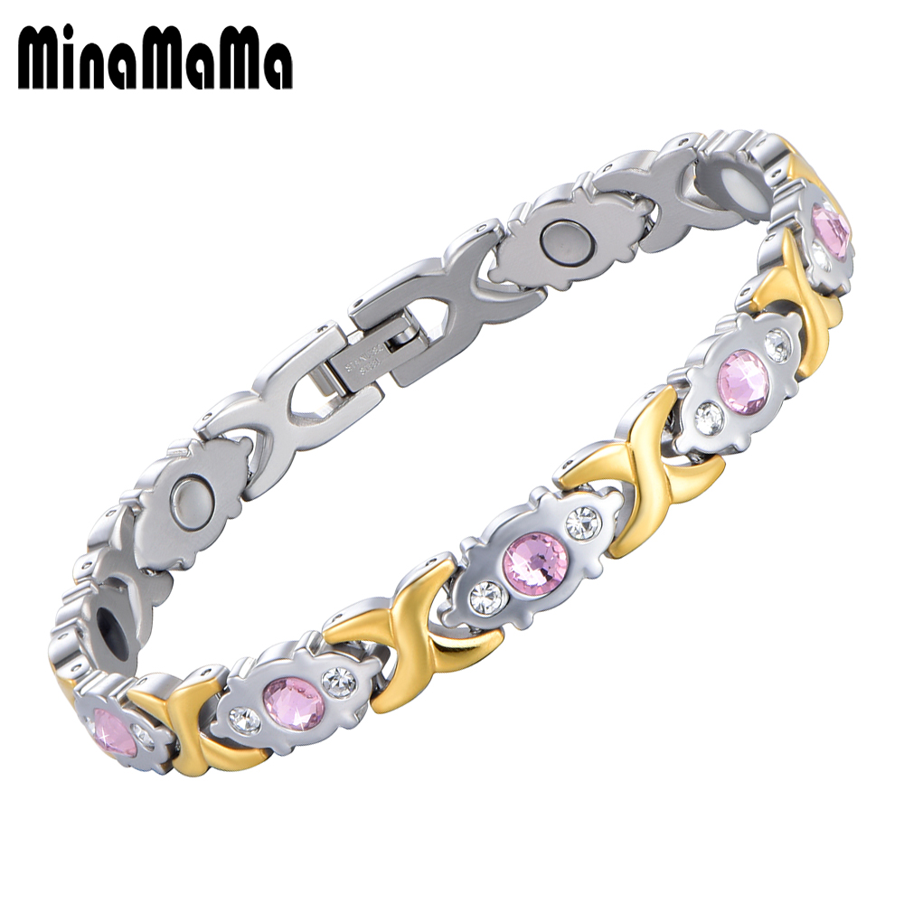 Germanium Magnetic Bracelet Health Care Elements Chain Bracelet Pink Crystal Gold Color 316L Stainless Steel Bracelets for women
