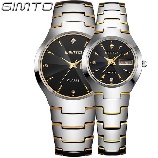 2017 gimto moda de acero de tungsteno reloj de los hombres mujeres reloj de cuarzo resistente al agua reloj de los amantes reloj reloj hombre montre relogio