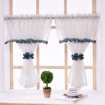 RZCortinas Pastoral Kitchen Curtains With Elegant Valance White Coffee  Curtain Modern Window Sheer Curtains for Livingroom 1PC