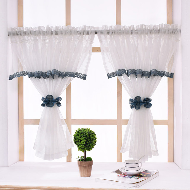 Rzcortinas Pastoral Kitchen Curtains With Elegant Valance White