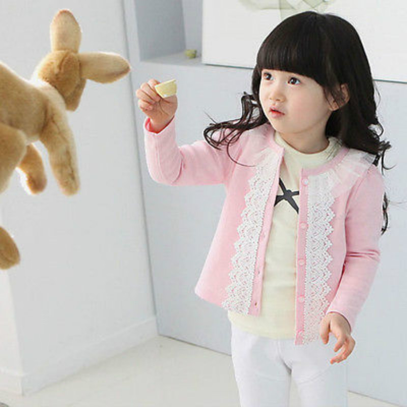 Casual Cardigan Jacket Baby Girls Laces Coat Cotton Long Sleeve Blue Red Outwear
